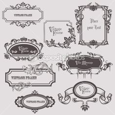 Vintage frames and design elements - with place for your text by Pavel Sivak - Stock Vector
