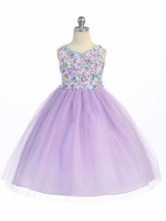 Lilac Flower Patched Bodice w/ Tulle Skirt