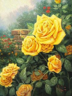 Shopping thomas kinkade a perfect yellow rose painting on oil ...