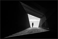 black and white photo, very much shape, contrast, geometrical perspective on cities