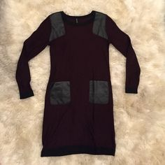 Walter Baker Dress Maroon and black Walter Baker sweater dress, in perfect condition, only worn a couple times. Two pockets and two shoulder pads made of a faux leather material. Show off what your mama gave ya in this super cute, super sexy dress! Walter Baker Dresses