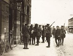 The National Library of Ireland's National Photographic Archive new exhibition 'Rising' has just opened in Temple Bar, Dublin - Michael O'Hanrahan being escorted into his court-martial, Richmond Barracks, 3 May 1916 Ireland 1916, Dublin Ireland, Easter Rising, Irish News, Imperial Hotel, Irish Times, Ireland Homes, Army Soldier, Grand Canal