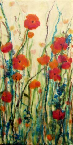 Original Encaustic Painting  Poppy Painting  by KLynnsArt on Etsy