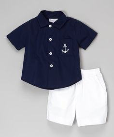 Loving this Navy Anchor Button-Up & White Shorts - Infant & Toddler on #zulily! #zulilyfinds