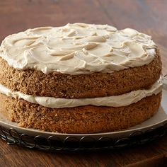 This old-fashioned spice cake is moist and richly flavored with aromatic cinnamon, ginger, allspice and nutmeg. The maple frosting adds just the right touch of sweetness.