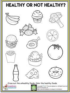 healthy food worksheet for preschool Aliments Sains Healthy Food Worksheet Healthy Food Activities For Preschool, Nutrition Activities, Kindergarten Worksheets, In Kindergarten, Nutrition Education, Healthy And Unhealthy Food, Healthy Kids, Healthy Habits, Healthy Eating