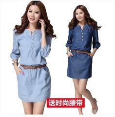 Online Shop 2015 verano mujer tres del cuarto más tamaño vestido de mezclilla azul, Maxi tamaño Casual vestidos sml XL 2XL 3XL 4XL|Aliexpress Mobile