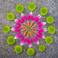 Flower Mandala by Kathy Klein - Garden Ideas Mandala Art, Flower Mandala, Flower Petals, Mandala Design, Flower Art, Land Art, Elefante Hindu, Ephemeral Art, Sculpture Metal
