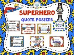 Zap your music classroom with fun superhero Quote Posters that are both motivational as well as nice decor. ***This is part of the larger Superhero Theme of the Year/Decor Pack.  Check it out here . It Includes:Superhero Quote Posters-7 posters to put on your wall************************************************How to earn free things on TPT by giving feedback Go to your My Purchases page (you may need to login).