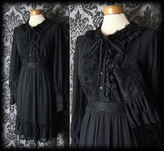Gothic Black Frilled Bib MORBID REMAINS Deep Cuff Dress 12 14 Victorian Vintage - £49.00