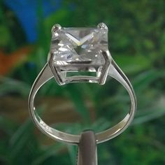 Anel com Pedra Zirconia Prata 925 Quadrada 9x9mm (AN159)
