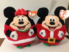"""NEW 2013 Ty Beanie Ballz Mickey Mouse & Minnie Mouse Christmas 5.5"""" inches"""
