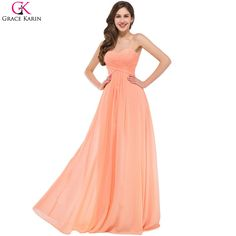 Cheap Bridesmaid Dresses Grace Karin Strapless Chiffon Orange Formal Gowns Long Wedding Party Dresses Robe Demoiselle D'honneur