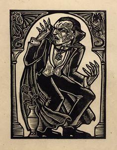 Brian Reedy ~ Dracula ~ Woodcut, Rice Paper, 9 x 12 inch Arte Horror, Horror Art, Dracula Tattoo, Linocut Prints, Art Prints, Silkscreen, Classic Monsters, Arte Popular, Art Graphique