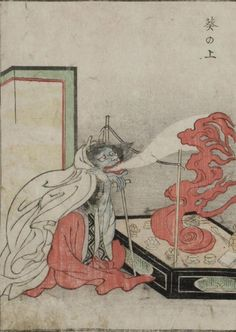 """The Kaibutsu Ehon (""Illustrated Book of Monsters"") features woodblock prints of yōkai, or creatures from Japanese folklore. - Aoi no Ue - Character from The Tale of Genji who suffers episodes of spirit possession"