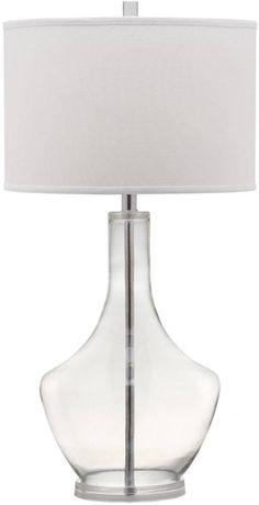 Cast a romantic glow in your living room or bedroom with the transitional Mercury clear glass table lamp by Safavieh. Inspired by vintage mercury glass, the sparkling glass urn-shaped base is contrasted by a crisp white cotton contemporary drum shade. Clear Glass Table Lamp, Living Room End Tables, Dining Rooms, Gourd Lamp, Tiffany Lamps, Bedroom Lamps, Master Bedroom, Table Lamp Sets, Unique Lamps