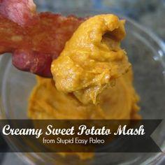 Creamy Sweet Potato Mash |stupideasypaleo.com1 large roasted** sweet potato, skin removed ½ of a ripe avocado Pinch of smoked paprika Salt and pepper to taste