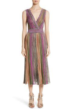 Main Image - Missoni Reversible Metallic Stripe Knit Midi Dress Striped Midi Dress, Striped Knit, Plunging Neckline, Nordstrom Dresses, Missoni, Spring Summer Fashion, Glamour, Summer Dresses, Metallic