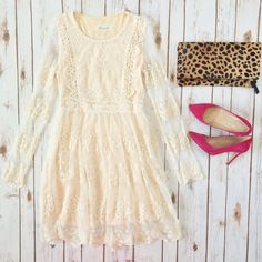 Chicwish mi amore lace dress, Clare V leopard foldover clutch, hot pink suede pumps // Click to see more outfit ideas: http://www.stylishpetite.com/2015/01/outfit-layouts.html
