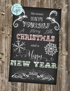 Chalkboard Christmas Card Have Yourself A Merry Little Folded Or Flat