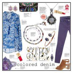 """Colored Denim: Indian Style"" by elisabetta-negro on Polyvore featuring moda, Giorgia & Johns, NOVICA, LORAC, Marc Jacobs, Yves Saint Laurent, Vera Bradley, J Brand, Hollister Co. e Baggins"