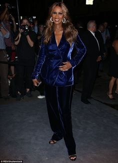 Back in the spotlight: Iman made her first public appearance since David Bowie's death on Wednesday at Tom Ford's New York Fashion Week presentation and party
