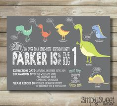 Dinosaur Dinomite Boy Birthday Party by SimplySweetPrintShop