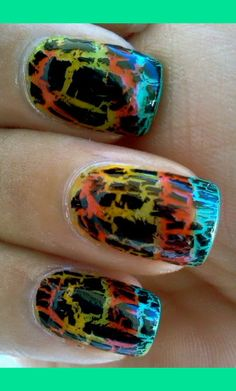 Black Shatter over neon rainbow #nails #nail_art