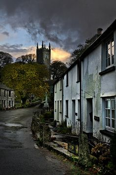 Alternun Village in Cornwall, England, .with the Norman church of St Nonna