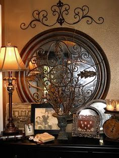 Nice for an entryway table & mirror. liking the mirror and the topper...