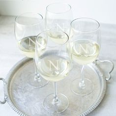 Cathy's Concepts | Personalized 19 oz. White Wine Glasses. Wine entertaining and host a party. Wine tasting parties or other wine events. Wine lovers gifts and hostess gifts.