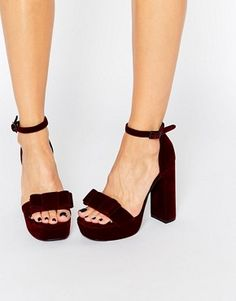 Senso Paige Wine Velvet Bow Platform Heeled Sandals
