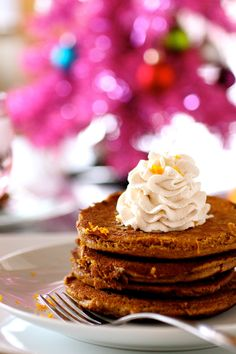 Gingerbread Pancakes with Cinnamon Whipped Cream