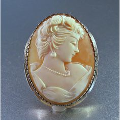 Cameo Brooch Pendant, 800 Silver, Carved Shell, Detailed High Relief,... ($72) ❤ liked on Polyvore featuring jewelry and pendants