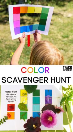 Color scavenger hunt with a printable color viewer and collection page. Use this color viewer to go on a color scavenger hunt with your kids! Tie in art, and science to learn all about the colors in nature. Preschool Colors, Teaching Colors, Preschool Science, Science Art, Preschool Art Lessons, Science Crafts, Art Lessons For Kids, Preschool Kindergarten, Nature Activities