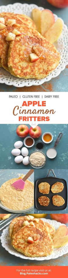 Fluffy apple cinnamon fritters are fried in coconut oil for a golden brown crust! These apple cinnamon fritters are great for meal prep. Paleo Sweets, Paleo Dessert, Dessert Recipes, Healthy Desserts, Healthy Foods, Healthy Recipes, Gluten Free Breakfasts, Gluten Free Recipes, Paleo Breakfast