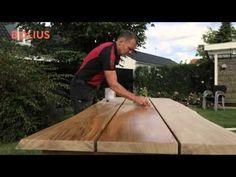 Byg dit eget flotte plankebord i eg til stuen, køkkenet eller terrassen. Bolius guider dig gennem hele processen fra rå planker til færdigt bord. Farmers Table, Wood Crafts, Diy And Crafts, Patio Lighting, Diy Table, Dremel, Rustic Design, Diy Furniture, Interior Decorating