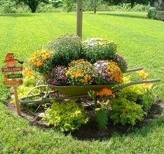 wheel-barrel-planter - one of 20 low-budget pots and container projects