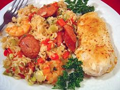 """Chicken, Shrimp and Andouille Jambalaya. """"Been making this for years. Mix and match however you like on the big three ingredients. You can also use other sausage: Polish, Smoked, Boudin, whatever. This dish is very forgiving, which is probably why so many people love it."""""""