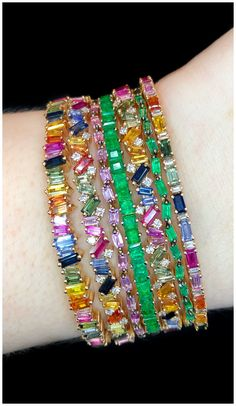 Incredible bracelets by Suzanne Kalan! Rainbow gemstones and emeralds sprinkled with diamonds. - March 16 2019 at I Love Jewelry, Modern Jewelry, Jewelry Box, Steel Jewelry, Girls Jewelry, Bridal Bangles, Best Jewelry Stores, Jewelry Sites, Schmuck Design