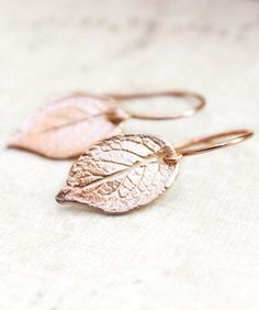 Rose Gold Leaf Earrings Small Drop Earrings. Would be Great for an earthy wedding.