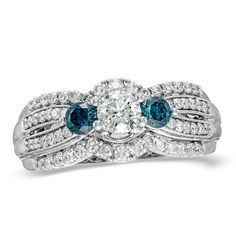 1 CT. T.W. Enhanced Blue and White Diamond Three Stone Engagement Ring