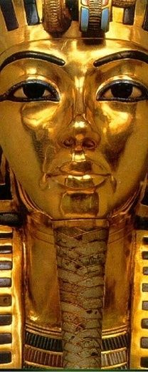 """King Tut's Death Mask (Detail)-On November 26, 1922, archeologist Howard Carter and his patron, Lord Carnavon, become the first people in over 3,000 years to enter the tomb of King Tutankhamen. Breaking through a sealed door, Carter leaned in, holding a candle. Carnavon, standing behind him, asked """"Can you see anything ?"""" Carter's famous reply was, """"Yes, wonderful things""""."""
