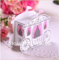 FREE SHIPPING 200pcs/ lot Prince and Princess Carriage Happiness candies box Gifts box Wedding favors boxes $45.00
