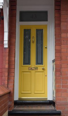 Yellow Grand Victorian front door with Etched glazing in Didsbury. Cottage Front Doors, Victorian Front Doors, Yellow Front Doors, Wooden Front Doors, Victorian Terrace, Victorian Homes, House Front, Front Porch, Entry Doors
