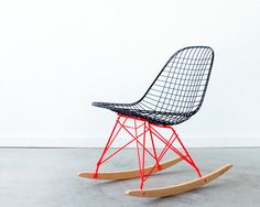 To know more about castandcrew EAMES RKR by C+C Custom Flat Black on Marfa Red Rocker Base, visit Sumally, a social network that gathers together all the wanted things in the world! Charles Eames, Chair Design, Furniture Design, Eames Rocker, Red Rocker, Cute Bedding, Chaise Vintage, French Chairs, Eames Chairs