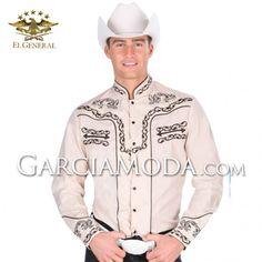 Camisas Charras El General Western Wear 33788GM En Color Khaki Decoracion tribal flourishes Western