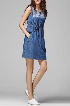RAIN.CUN - Embroidery Drawstring Twin Pocket Denim Dress