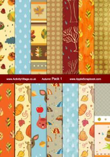 Free printable autumn scrapbook paper, fall scrapbook paper designs