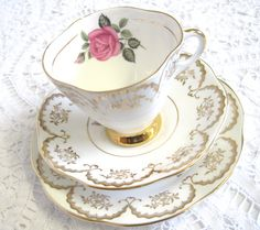 Vintage Tea Trio Imperial China Pink Rose and by TheWhistlingMan
